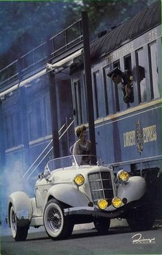 Orient Express Judy Kelley Thomas via Gene Galley onto Trains, planes, cars, trucks and things that go Cars Vintage, Vintage Travel, Vintage Auto, Vintage Images, By Train, Train Tracks, Simplon Orient Express, Pt Cruiser, Old Trains