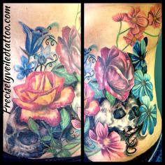 Stretch mark coverup cover tattoo stomach hip roses rose daisy skull colorful skulls aster filigree design custom realistic leaves painted by artist Amy Shandick of Precisely Veiled Tattoo Harker Heights, TX