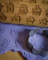 Whoo gives a hoot? Owl  Solid Maple American made Patterned Rolling Pin - laser engraved embossing rolling pin