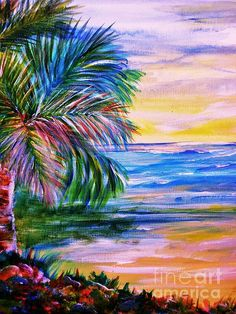 Palm trees 2 Acrylic on Canvas For Sale By Artist Sharon Wood swoody@adam.com.au