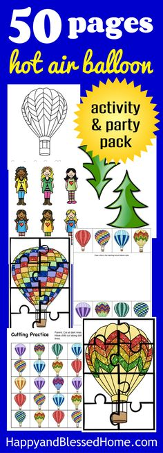 What a great idea! 50 Pages of Hot Air Balloon Activities and Party Decorations - everything you need to teach children about hot air balloons or throw a hot air balloon theme birthday party!  With a DIY craft idea for a fun kid's snack. Perfect for a unit study or lesson on hot air balloons!