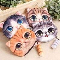 Geek | New Woman Coin Change Purse Fashion Tide Big Face Small Tail Cat Cat Head Meow Cartoon Cat Zero Wallet Coin Bag With Zipper