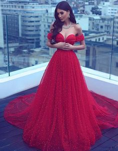 Sumptuous Elegant Sweetheart Neck Red Tulle Long Prom Dress, Red Evening Dresses Beading Party Dress by lass, $367.00 USD
