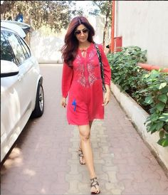 Shilpa Shetty In A Pink Embroidered Top .For This Top You May Write Us At contact@ladyselection.com