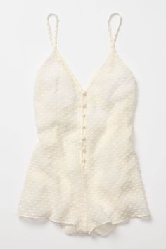 Lingerie: Margrit Crisscrossed Romper in Ivory at Anthropologie (Made in USA)