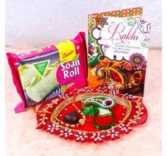 Raksha Bandhan Thali with Soan Roll Sweets Combo