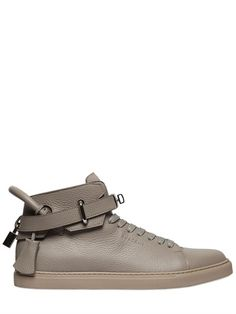 BUSCEMI Textured Leather High Top Sneakers, Pearl Grey. #buscemi #shoes #sneakers