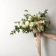 Ranunculus and Honeysuckle -- bouquet by Sarah Winward