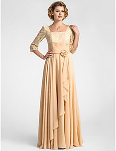 A-line Plus Sizes Mother of the Bride Dress - Champagne Floo... – USD $ 99.99