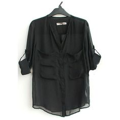 Black V Neck Roll Long Sleeve Two Pockets Chiffon Blouse ($31) ❤ liked on Polyvore