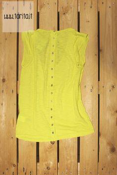 Tarita S/S 2013.   Hoss Intropia, bright yellow t-shirt (golden buttons on the back)