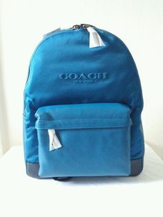 NWT Coach Campus Backpack Leather and Nylon Laptop Tablet Bag F71975 Blue Denim…