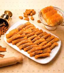 CYPRUS - CYPRIOT Thaktyla (fingers) dessert - made with with crushed Almonds - DELICIOUS!!