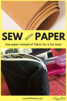 Sewing Bags Project Who knew you could made bags out of paper? And I don't mean lunch bags. I love that this KrafTex product is sew-able paper to use in my bag making. And look how awesome the stitches show up. Hand Sewing Projects, Sewing Projects For Beginners, Diy Projects, Sewing Patterns Free, Free Sewing, Sewing Hacks, Sewing Tutorials, Sewing Ideas, Sewing Tips