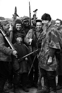 Partisans. A group portrait, 1943. Taken in Briansk region. Russia, WW2