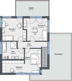 Passivhaus grundriss  Pultdachhaus Grundriss mit 86,53 m² Wohnfläche im Erdgeschoss ...