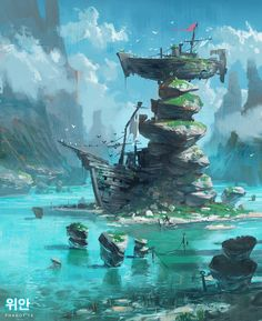 Andrew porter 003 solice Fantasy Art Landscapes, Fantasy Landscape, Landscape Art, Fantasy Concept Art, Fantasy Artwork, Environment Concept, Environment Design, Fantasy Places, Fantasy World