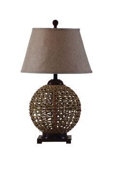 Sculpture of cool bell shaped lamp shades interior design ideas table lamp with a woven rattan base and flaring shade product table lampconstruction material rattan and fabriccolor brown and beigefeatures switch aloadofball Images