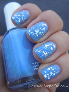 Essie Blue Glitter Nails
