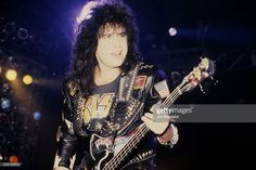 Gene Simmons, bassist for the rock band KISS, performs on the Hot in the Shade Tour at the Met Center in Bloomington, Minnesota on May 25, 1990.