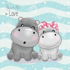 Two Cute Hippo Cartoon On Striped Background Stock Vector - Illustration of character, design: 135340246 Cartoon Cartoon, Kids Cartoon Characters, Cute Cartoon Drawings, Animal Drawings, Cartoon Hippo, Cute Hippo, Baby Hippo, Cute Images, Cute Pictures
