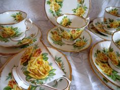 Vintage Royal Albert Tea Rose Tea Trios. Cups, Saucers and Plates. Fine Bone China, Made In England.