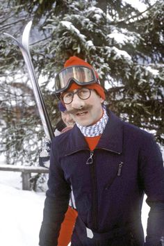 1980: Prince Charles in Klosters, Switzerland, teases the press with a disguise.
