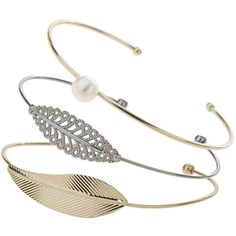 TOPSHOP Pearl and Leaf Bangle (810 MKD) ❤ liked on Polyvore featuring jewelry, bracelets, mixed metal, hinged bracelet, topshop jewelry, leaf jewelry, bracelets bangle and pearl jewelry