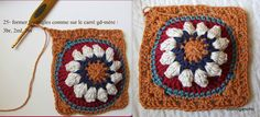 Bobble stitch granny square tutorial by clothogancho. In French with lots of pictures.