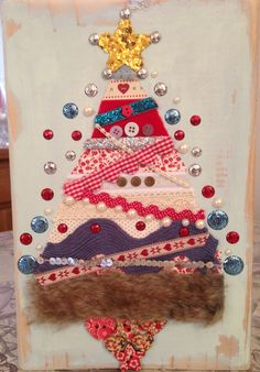 Mixed media fabric in wood. Vintage Christmas