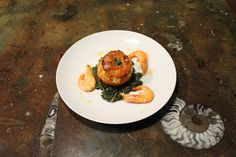 Stuffed Tomato with brown rice, spinach and shrimp!!