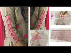 Designer Sleeves Cutting and Stitching for Suit/Kurti/Kameez - Her Crochet Chudidhar Neck Designs, Neck Designs For Suits, Sleeves Designs For Dresses, Neckline Designs, Fancy Blouse Designs, Blouse Neck Designs, Hand Designs, Dress Designs, Sleeve Designs For Kurtis