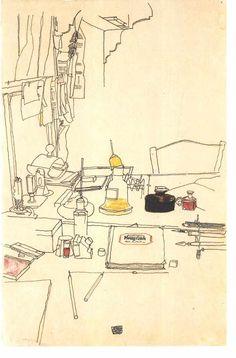 Egon Schiele (Austrian, Desktop in the prisoner-of-war camp, in Mühling, Line drawing, ink on paper. Gustav Klimt, Line Drawing, Painting & Drawing, Art Sketches, Art Drawings, Landscape Drawings, Art Postal, Art And Illustration, Art Inspo