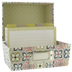 linear floral index card box at Paperchase Desk Caddy, Card Organizer, Paperchase, Index Cards, Home Organization, Decorative Boxes, Stationery, Gift Wrapping, Storage