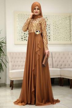 Som Fashion Bakır Hümaşah Tesettür Abiye Elbise