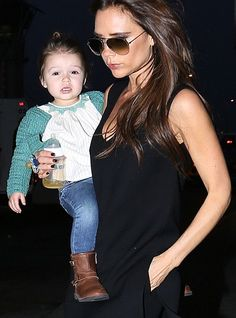 Harper Beckham with Victoria.....that little one is the cutest and always so well dressed.