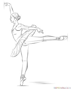 Drawing For Beginners How to draw a ballerina step by step. Drawing tutorials for kids and beginners. Ballerina Kunst, Ballerina Drawing, Ballet Drawings, Dancing Drawings, Art Drawings Sketches, Cool Drawings, Pencil Drawings, How To Draw Ballerina, Drawing Tutorials For Beginners