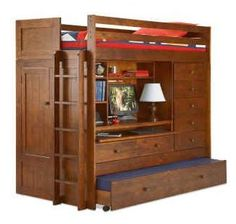 Supreme Bunk Bed. Bed, closet, drawers, desk & tv stand, and extra trundle bed all in one.