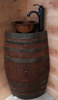 """Mini Rustic Oak Wine Barrel Corner Bathroom Vanity Sink with Optional Door and includes Copper Sink and """"Oil Rubbed"""" Bronze Faucet with drain Kit. SS7500H 