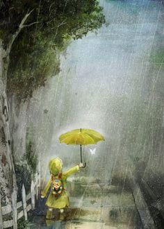 Imagen de rain, art, and umbrella I Love Rain, No Rain, Walking In The Rain, Singing In The Rain, Art And Illustration, Rain Art, Umbrella Art, Yellow Umbrella, Mellow Yellow