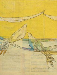 Greeting Card, Birds on Power Line, Yellow, Hope, Fine Art Print, Mixed Media, Encaustic