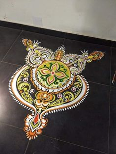 Simple Rangoli Designs Images, Rangoli Designs Latest, Colorful Rangoli Designs, Rangoli Designs Diwali, Kolam Rangoli, Mehndi Images, Easy Rangoli, Kolam Designs, Owl Wallpaper Iphone