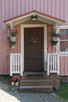 Schöner schwedischer Hauseingang in Schweden