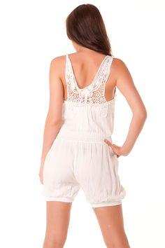 Combi-short très mode en blanc avec dentelle au dos. vêtement fashion 124  Prix   7.12 € 34d37b02738