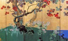 "Detail. Suzuki Kiitsu. 四季花木図屏風. 鈴木其一 六曲一双 左隻 ""Flowers and Trees of the Four Seasons"" Edo Period, 19th c. Rimpa School. One of a pair of folding screens. Japan."