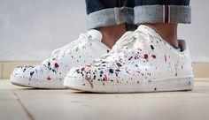 paint splattered sneakers