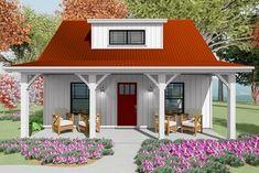 Cottage House Plans, Small House Plans, Cottage Homes, House Floor Plans, Farm House, Architectural Design House Plans, Architecture Design, Red Roof House, Porch Plans