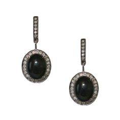 Hillary Earrings - Black Opal, Diamonds, Sterling Silver - By Meredith Marks Designs