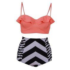 P&j 2017 New Plus Size Swimwear Push Up Biquini Beach Swim Wear XXL Vintage Retro Bikini Swimsuit Women High Waist Bathing Suits