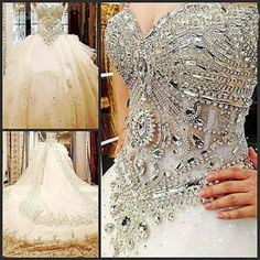 2017 Blinged Out Beaded Corseted Wedding Dress Custom Made For You